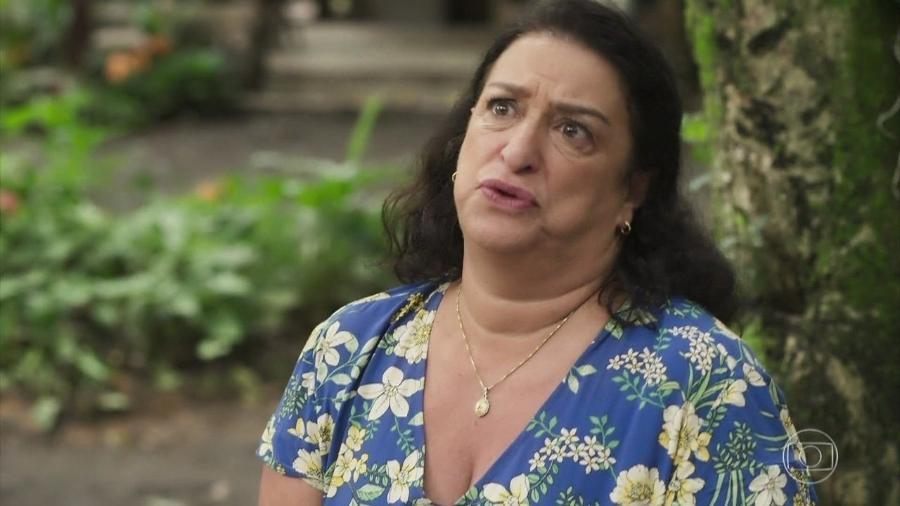 Ermelinda (Grace Gianoukas) em Salve-se Quem Puder (Reprodução/TV Globo). - Reprodução/TV Globo