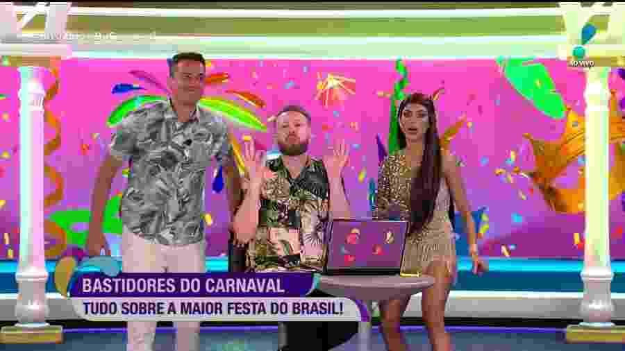 Leo Dias, Thiago Pasqualotto e Flavia Noronha no comando do Bastidores do Carnaval - Reprodução / Internet