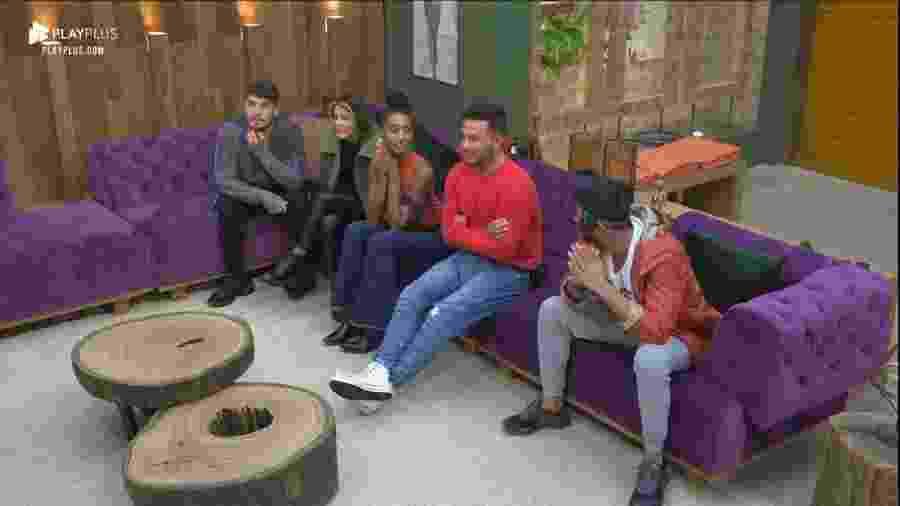 Lucas, Hari, Sabrina, Rodrigo e Diego em A Fazenda 11 (Foto: Reprodução/PlayPlus) - Lucas, Hari, Sabrina, Rodrigo e Diego em A Fazenda 11 (Foto: Reprodução/PlayPlus)