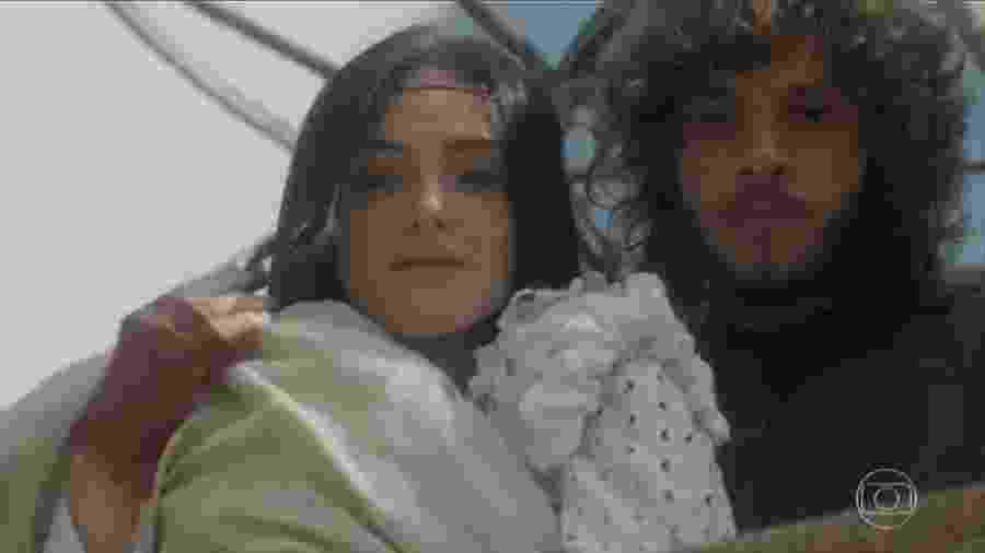 Anna (Isabelle Drummond) e Joaquim (Chay Suede) em Novo Mundo (Reprodução/TV Globo). - Reprodução / Internet