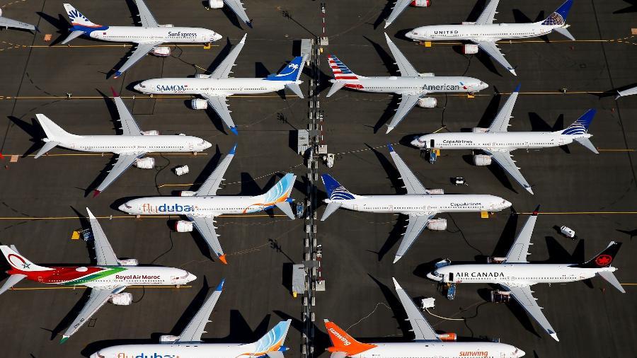 Diversas unidades do Boeing 737 Max permanecem estacionadas em uma instalação da empresa norte-americana em Seattle, Washington, nos EUA - Lindsey Wasson/Reuters