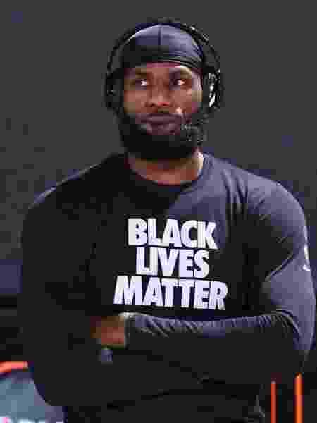 LeBron James é uma das personalidades mais fortes no combate à desigualdade racial e por justiça no basquete                               - Garrett Ellwood/AFP                             - Garrett Ellwood/AFP