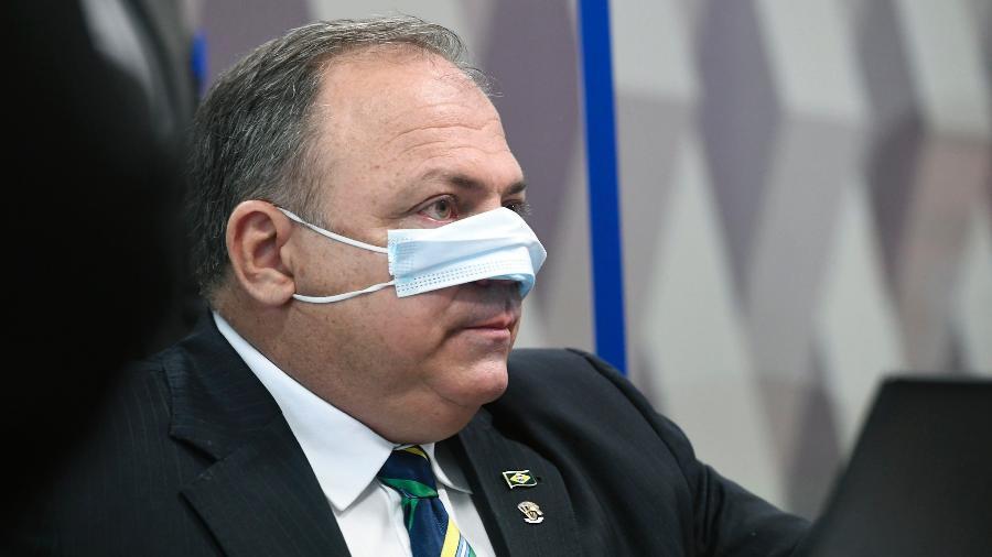 O general Eduardo Pazuello, durante sessão da CPI da Covid  - Jefferson Rudy/Agência Senado