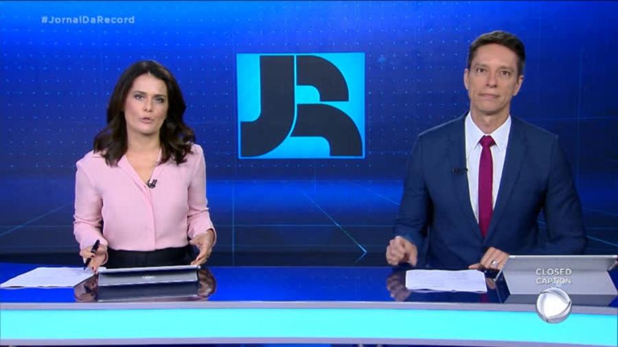 Adriana Araújo e Sergio Aguiar no Jornal da Record  - Reprodução/RecordTV