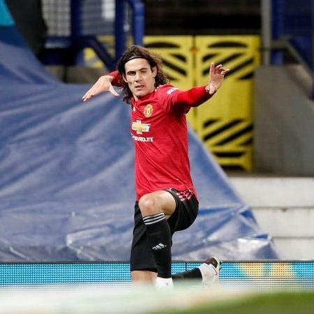 "Cavani comemora gol pelo Manchester United com ""flecha""  - Getty Images"