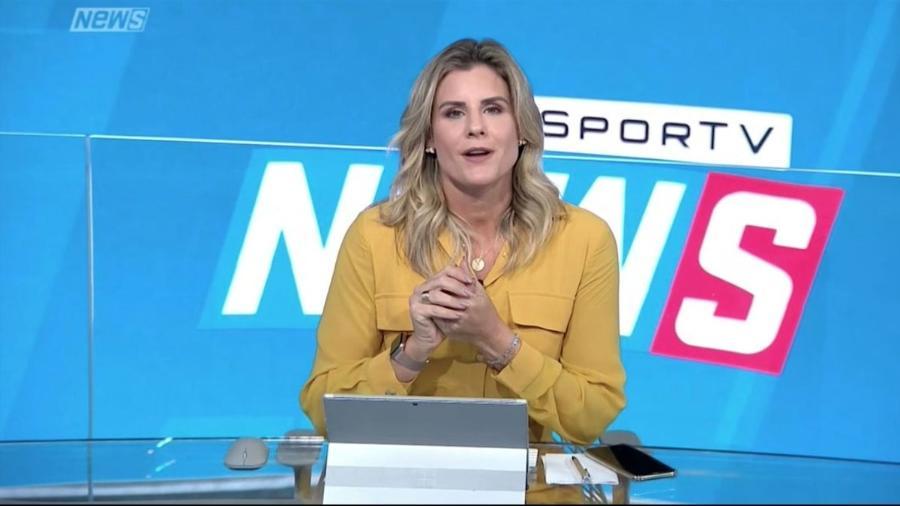 """Janaína Xavier, titular do """"SporTV News"""": Globo tira edição da tarde do ar por causa do crescimento da covid-19 - Reprodução/SporTV"""