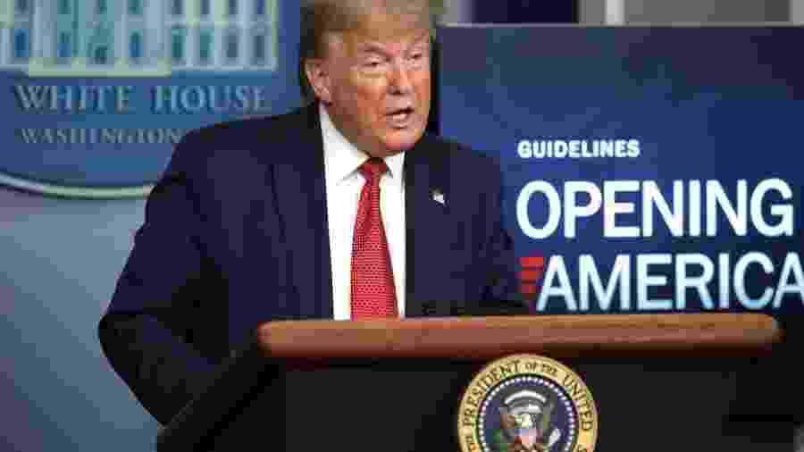 O Presidente dos Estados Unidos, Donald Trump                              -                                 ALEX WONG/GETTY IMAGES NORTH AMERICA / GETTY IMAGES VIA AFP