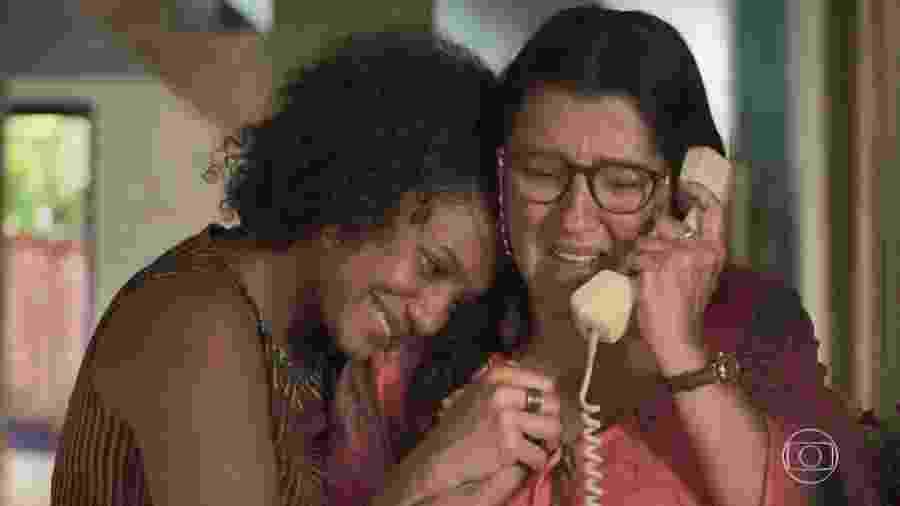 """Camila (Jéssica Ellen) e Lurdes (Regina Casé) em cena de """"Amor de Mãe"""", cujas gravações serão retomadas em agosto  - Reprodução / Internet"""