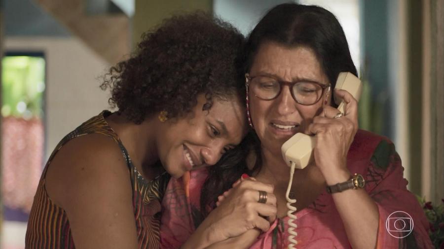 Camila (Jéssica Ellen) e Lurdes (Regina Casé) em Amor de Mãe (Divulgação/TV Globo) - Reprodução / Internet