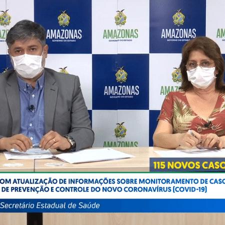 Em imagem de abril, o então secretário de Saúde do Amazonas, Rodrigo Tobias, dá informações sobre a covid-19 no estado - Reprodução / Facebook / Secretaria Estadual de Saúde do Amazonas .
