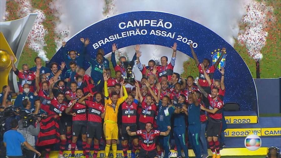 Flamengo é campeão do Campeonato Brasileiro 2020 (Reprodução/TV Globo). - Reprodução / Internet