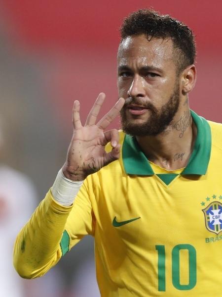Neymar em ação pela seleção contra o Peru pelas eliminatórias da Copa-2022          -                                 PAOLO AGUILAR / AFP