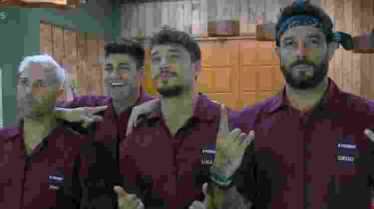 Viny, Netto, Lucas e Diego em A Fazenda 11 (Foto: Reprodução/PlayPlus)