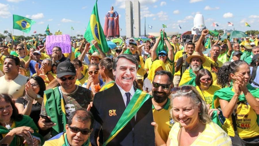 Manifestação a favor do governo Bolsonaro na Esplanada dos Ministérios em maio de 2019 -  Fabio Rodrigues Pozzebom/Agência Brasil