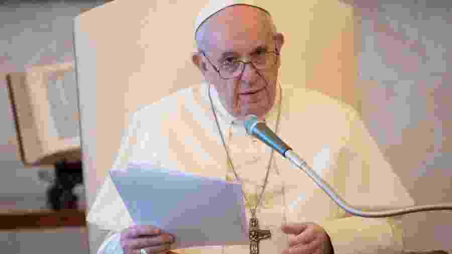 Papa Francisco em discurso                               -                                 HANDOUT/VATICAN MEDIA/AFP