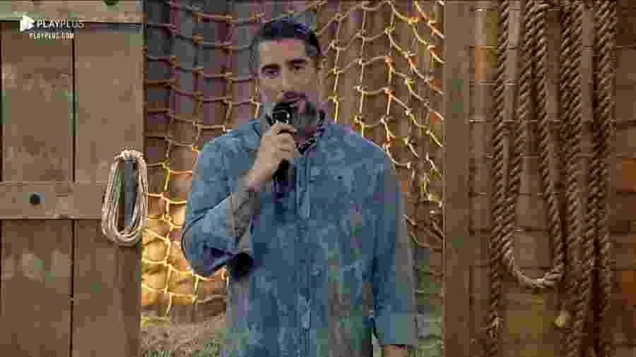 O apresentador Marcos Mion durante A Fazenda 11, exibida em 2019 - Reprodução / Internet