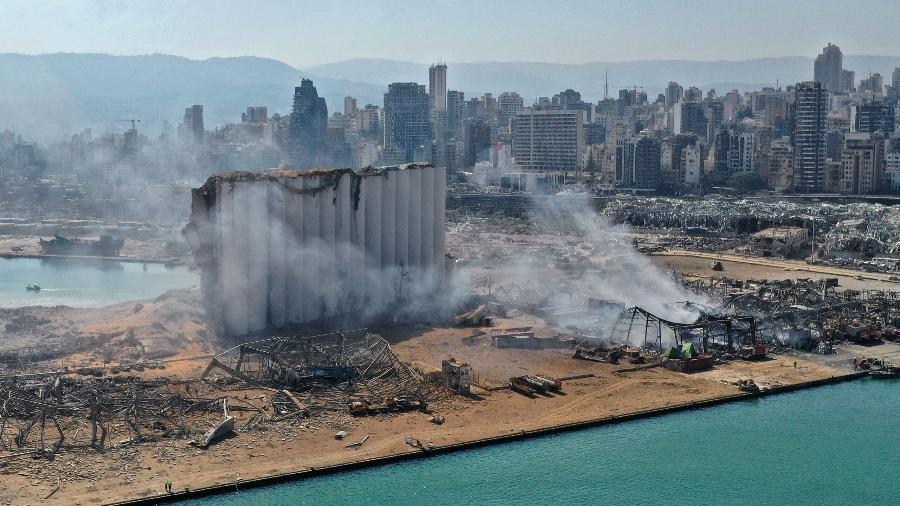 Visão aérea do porto de Beirute após explosão - Reprodução