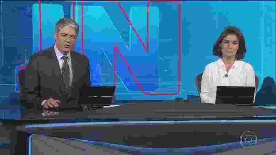 Os apresentadores William Bonner e Renata Vasconcellos no Jornal Nacional  - Reprodução/Globo