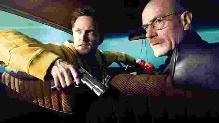 Aaron Paul como Jesse Pinkman e Bryan Cranston como Walter White - Aaron Paul como Jesse Pinkman e Bryan Cranston como Walter White em Breaking Bad (Fonte: Divulgação)