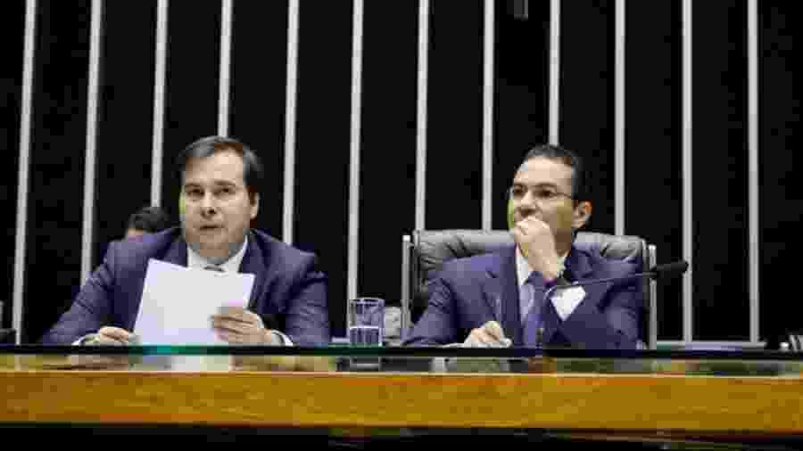 Rodrigo Maia (DEM-RJ), presidente da Câmara, e Marcos Pereira (Republicanos-SP) -  Luis Macedo/Câmara dos Deputados