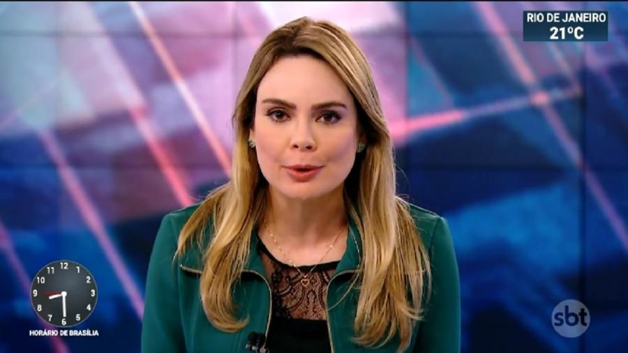 "Jornalista Rachel Sheherazade, na bancada do ""SBT Brasil"" - Reprodução/Internet"