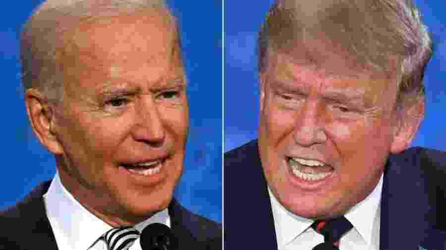 Trump e Biden se enfrentam em último debate sob tensão máxima -                                 JIM WATSON, SAUL LOEB / AFP