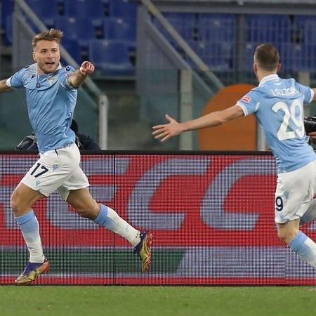 Immobile em ação com a camisa da Lazio - GettyImages