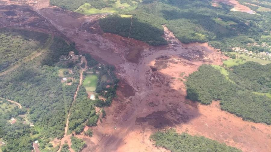 Brumadinho após rompimento de barragem  - reprodução/WhatsApp