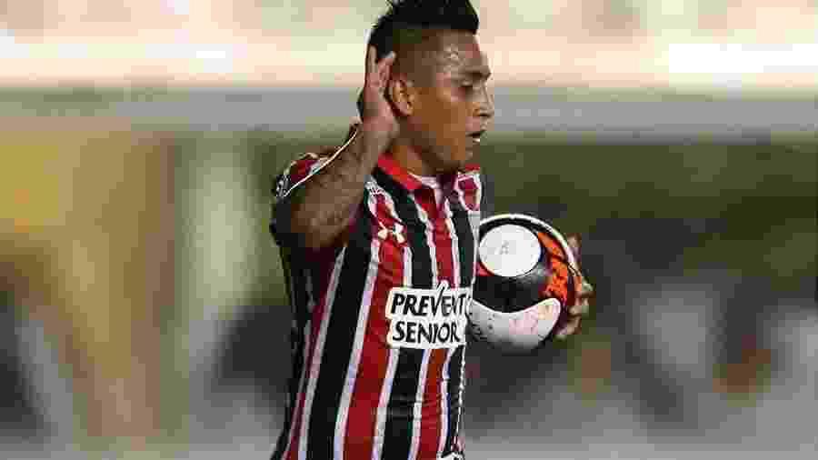 Cueva tem sete gols e quatro assistências nesta temporada pelo Tricolor - Guilherme Dionízio/Photopress/Estadão Conteúdo