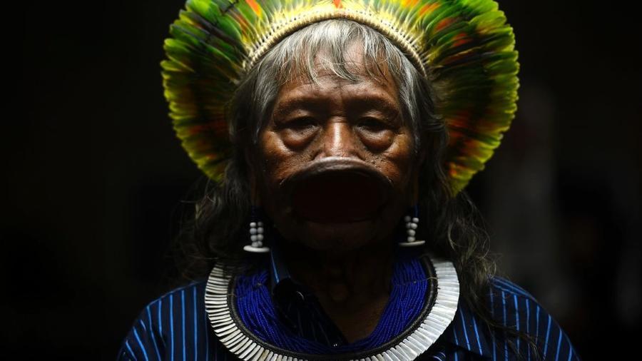 O cacique Raoni Metuktire, líder indígena brasileiro da etnia caiapó  -  Fernando Frazão/Agência Brasil