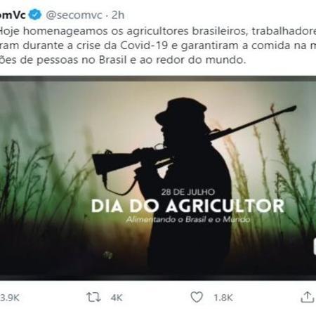 Governo Bolsonaro publica foto de homem armado para parabenizar pelo Dia do Agricultor - Reprodução/Twitter @secomvc