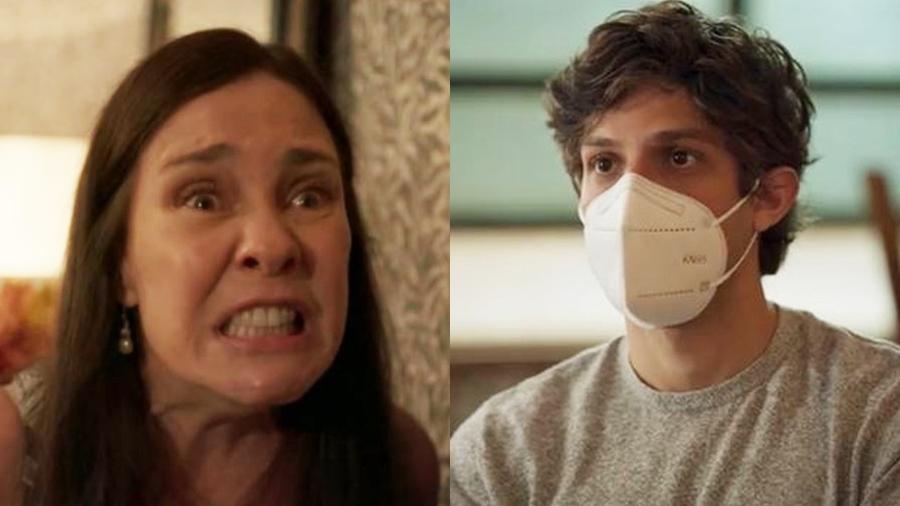 Thelma (Adriane Esteves) é desmascarada por Danilo (Chay Suede) em Amor de Mãe (Reprodução: Globo) - Reprodução / Internet