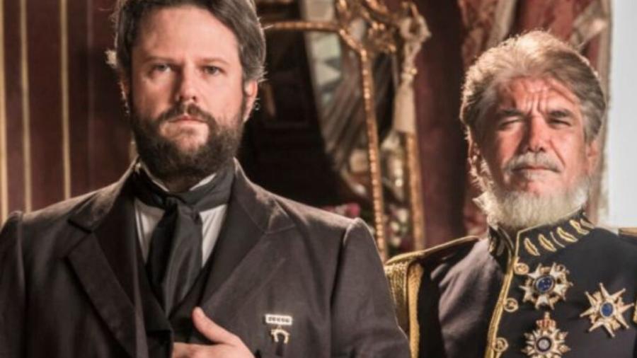 Dom Pedro II (Selton Mello) e Caxias (Jackson Antunes) em Nos Tempos do Imperador (Reprodução/Globo) - Reprodução / Internet
