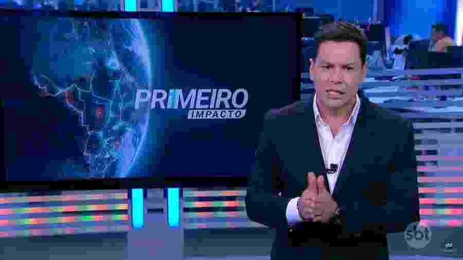 """Marcão do Povo apresentando o """"Primeiro Impacto"""" do SBT - Reprodução"""