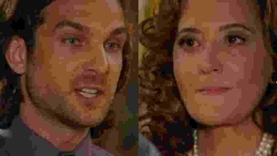 Alberto (Igor Rickli) e Guiomar (Cláudia Netto) de Flor do Caribe (Reprodução - TV Globo) - Reprodução / Internet