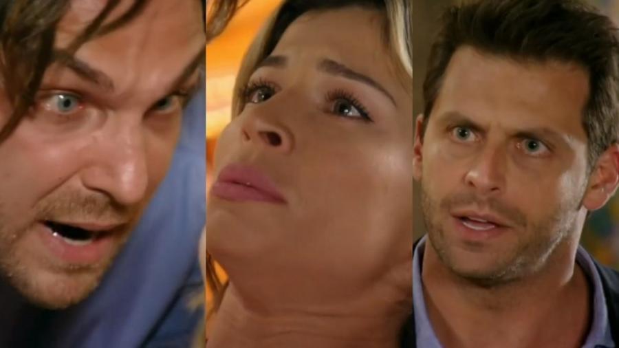 Alberto (Igor Rickli), Ester (Grazi Massafera) e Cassiano (Henri Castelli) de Flor do Caribe (Reprodução - TV Globo) - Reprodução / Internet