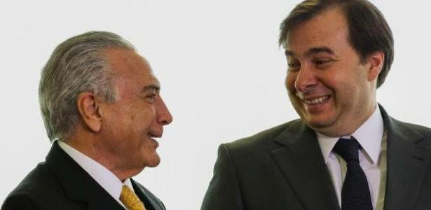 O presidente, Michel Temer, e Rodrigo Maia, presidente da Câmara dos Deputados