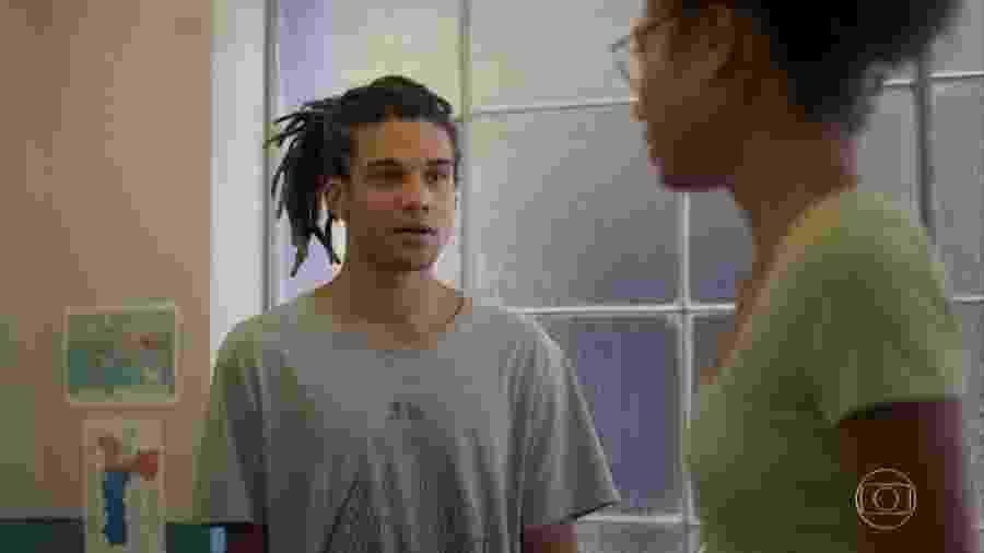 Waguinho (Lucas Leto) e Alice (Bruna Inocêncio) em Bom Sucesso (Reprodução/TV Globo). - Waguinho (Lucas Leto) e Alice (Bruna Inocêncio) em Bom Sucesso (Reprodução/TV Globo).