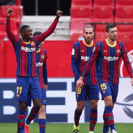 Dembélé comemorando o gol feito pelo Barcelona no Sevilla pela La Liga - GettyImages