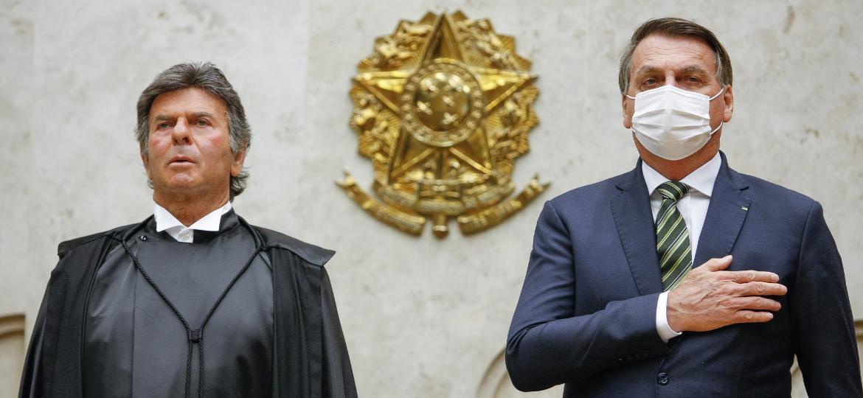 Ministro Luiz Fux e o presidente Jair Bolsonaro durante a sessão de Abertura do Ano Judiciário.  -  Fellipe Sampaio SCO/STF