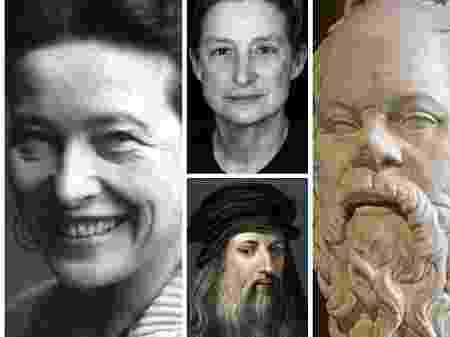 Simone de Beauvoir, Judith Butler, Leonardo da Vinci e Sócrates (Foto: reprodução)
