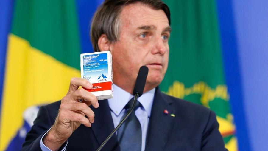 Bolsonaro em um dos diversos momentos em que fez proselitismo da cloroquina contra covid-19                              -                                 CAROLINA ANTUNES/PR