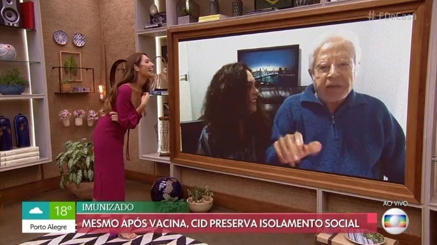"""Patrícia Poeta entrevista Cid Moreira e Fátima, a mulher dele, no """"É de Casa"""" - Reprodução / Internet"""