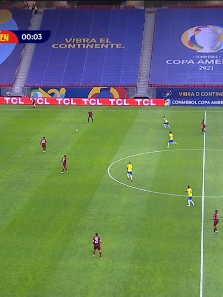 Brasil e Venezuela na Copa América (Reprodução/SBT). - Reprodução / Internet