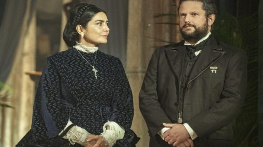 Teresa (Letícia Sabatella) e Pedro (Selton Mello) em Nos Tempos do Imperador (Fabio Rocha/TV Globo) - Reprodução / Internet