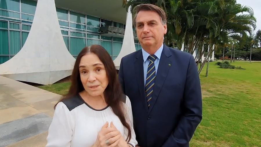 Regina Duarte e Jair Bolsonaro nesta quarta-feira, ao comunicarem a saída da atriz da Secretaria de Cultura - Reprodução / Internet
