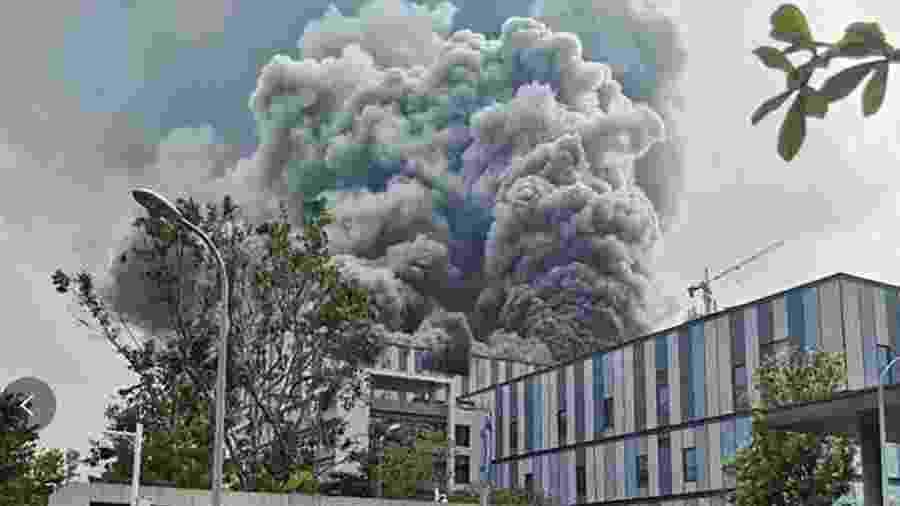 Incêndio em fábrica da Huawei deixou três mortos - Weibo / Reprodução