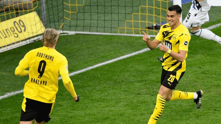 Haaland e Reinier comemorando pelo Borussia Dortmund - GettyImages - GettyImages