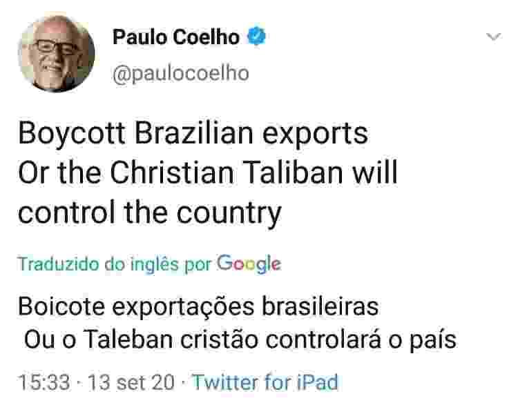 Publicação que foi apagada por Paulo Coelho - Reprodução / Twitter - Reprodução / Twitter