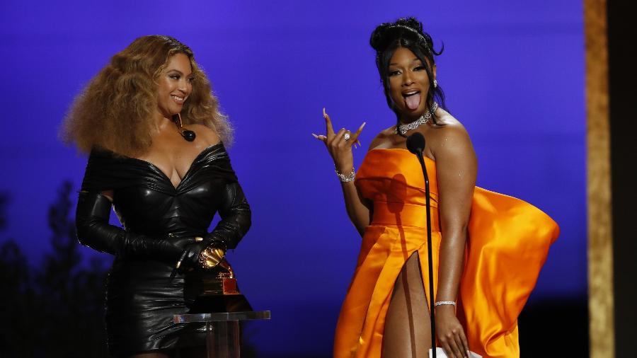 Beyoncé e Megan Thee Stallion no prêmio do Grammy 2021 - Cliff Lipson/CBS via Getty Images